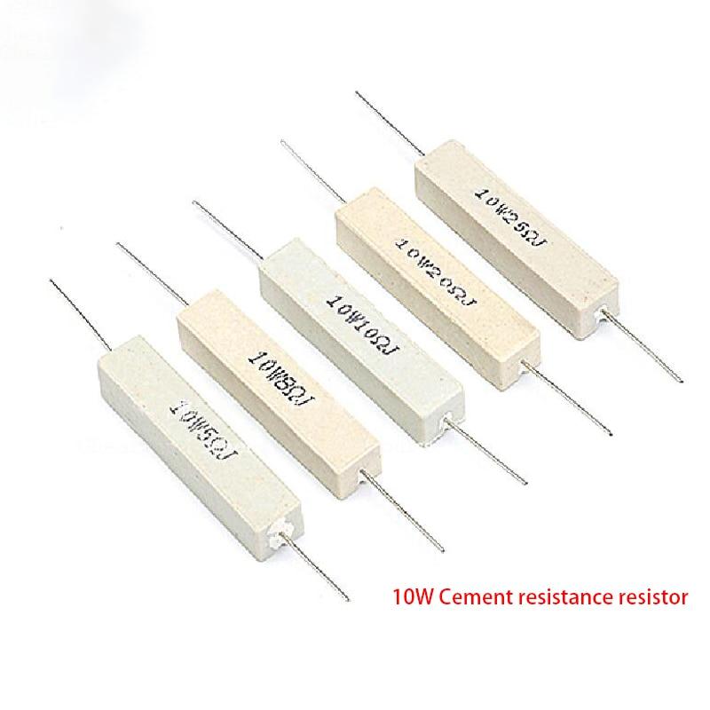 Цементный резистор 10 Вт 5%, сопротивление мощности 0,1 ~ 10K 0.1R 0.5R 10R 50R 0,22 0,33 0,5 1 2 5 8 10 15 20 25 30 100 1K 2K 3K Ом, 10 шт.