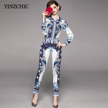 Fashion Woma Spring 2pcs Suit Vintage Printed Blouse Pants Set for Office Lady Female New Blouse + Pencil Pants Suits Set(China)