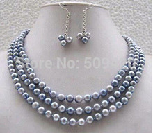 "free shipping >>>>Jewellery pretty vogue real gray pearl necklace earring set 17-19""(China)"