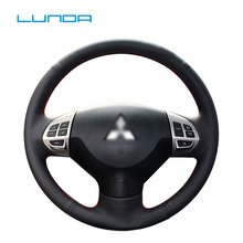 цена на LUNDA Black Leather Car Steering Wheel Cover for Mitsubishi Lancer EX 10 Lancer X Outlander ASX Colt Pajero Sport