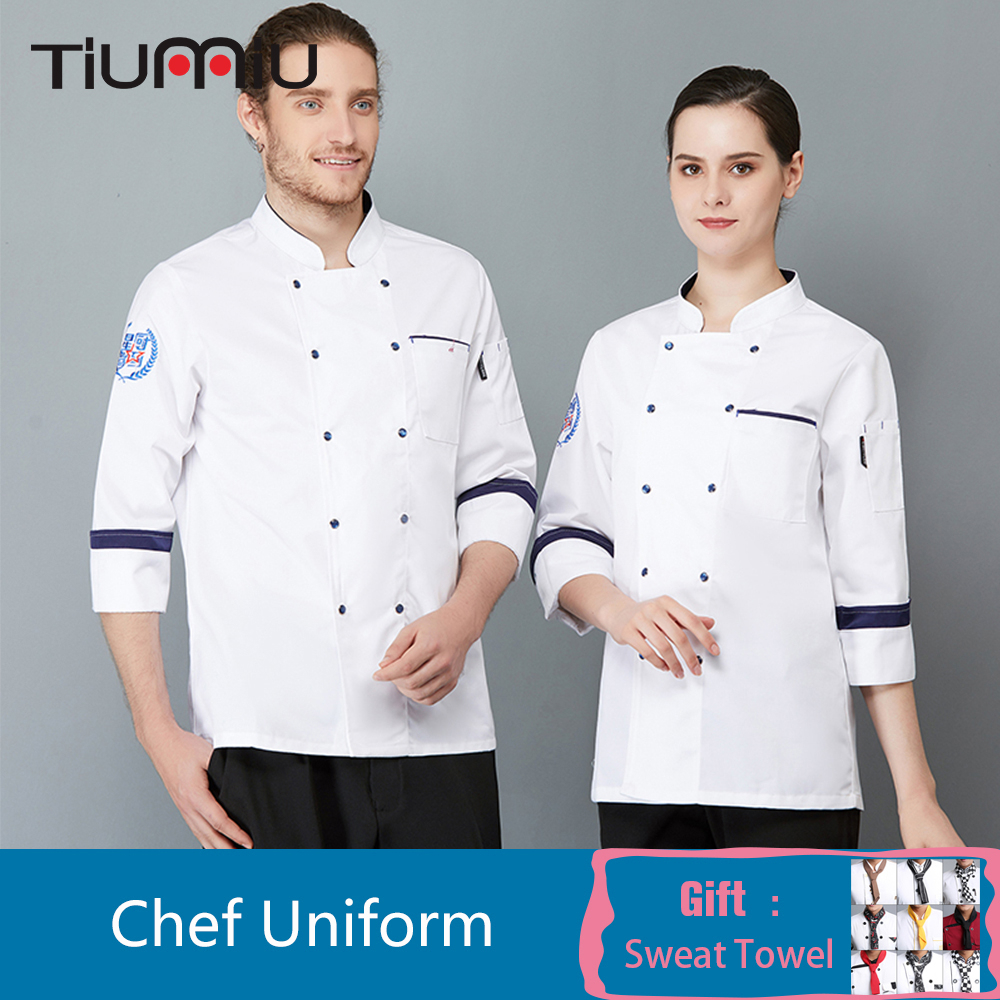Unisex Chef Uniform Restaurant Kitchen Chef Coat Food Service Cafe Bakery Bar Hotel Catering Service Long Sleeve Cook Overalls