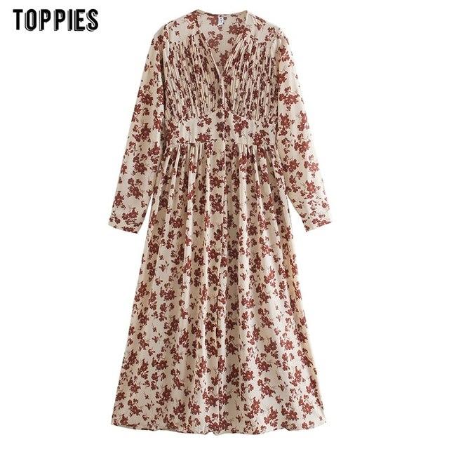 Toppies 2021 spring women dress long sleeve midi dress floral printing single breasted v-neck korean fashion clothings 4