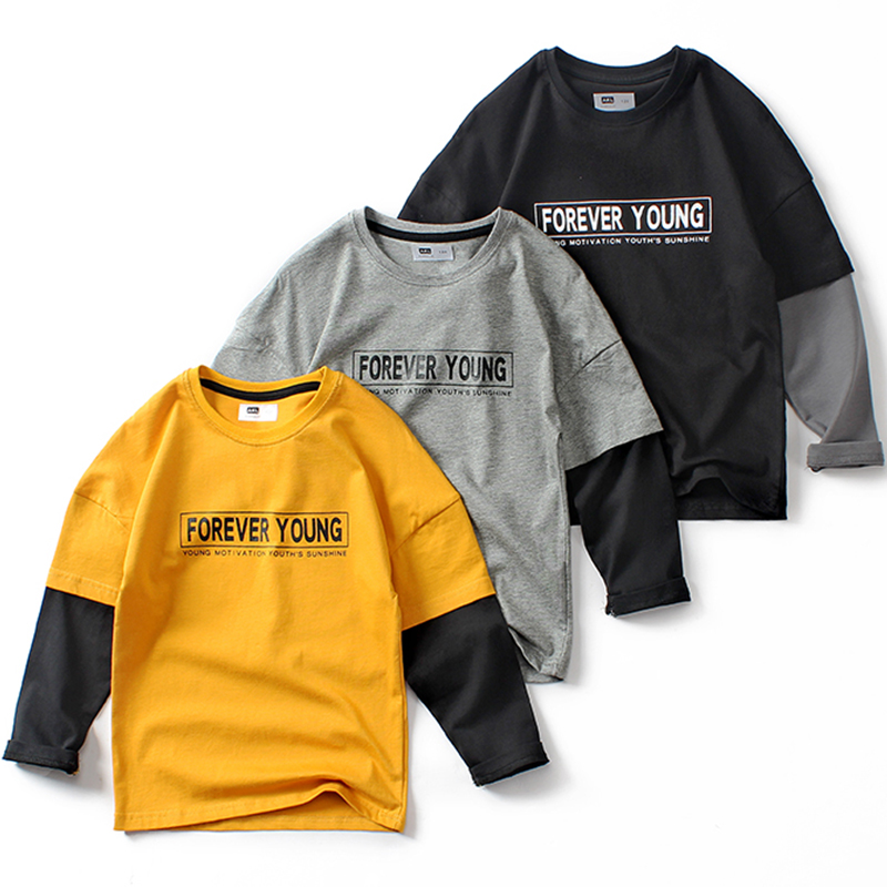 Boys Long Sleeve T <font><b>Shirt</b></font> Spring Autumn Summer Children Fake <font><b>2</b></font> Pieces Patchwork Casual Cotton T-<font><b>shirt</b></font> Clothes Big Boy Korean Tops image