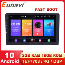 Eunavi Universal Car Multimedia Player Android 10 GPS Navigation Auto Radio stereo Audio Video TEF7708 4G WIFI DSP NO DVD 2 Din 9 66 android 8 1 universal car usb video audio multimedia gps radio fm am dvd player voice navigation for volkswagen series