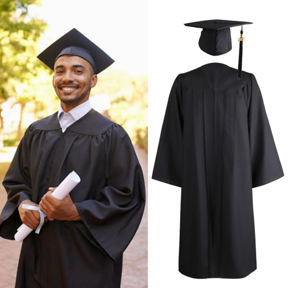 1pcs University Graduation Gown Student Uniforms Class Team Wear Dress Bachelor Robes+Hat Set Academic Dress For Adult