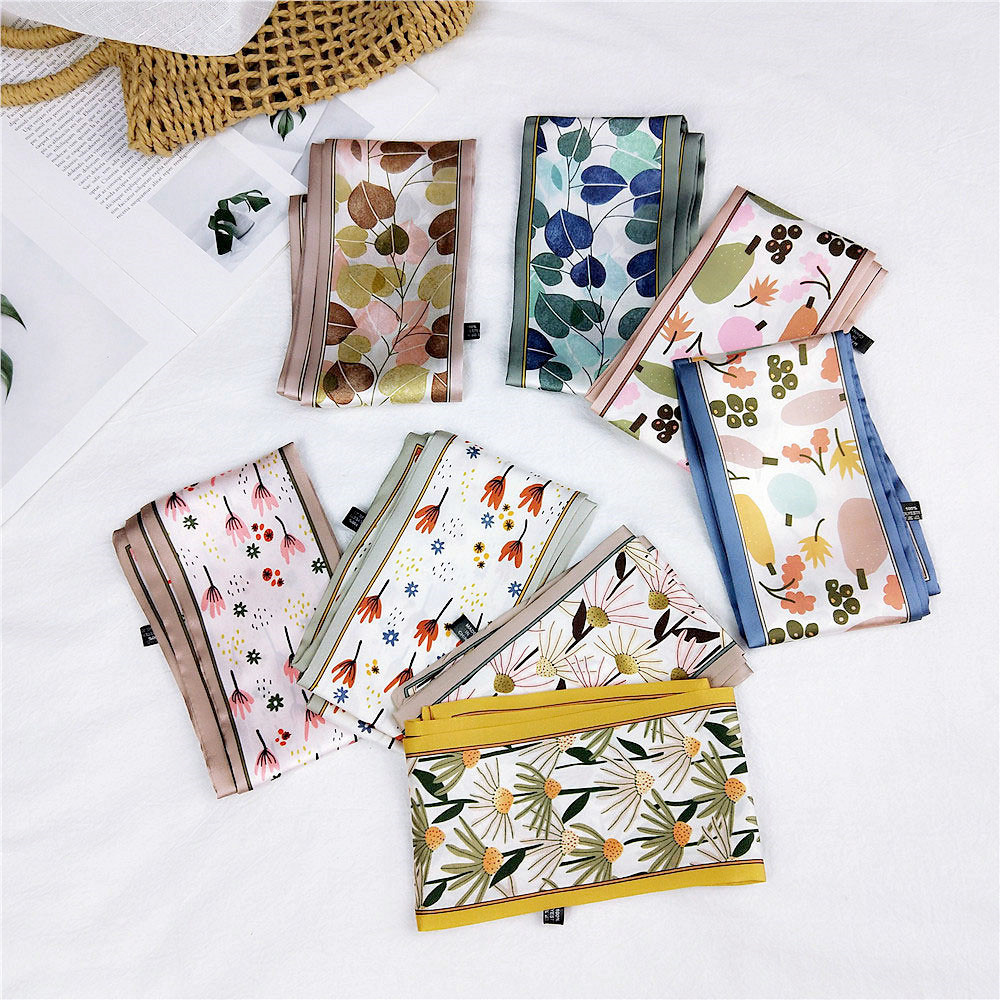 2020 New Spring Summer Long Flower Silk Satin Hair Scarf Headband Women's Neck Collar Purse Handbag Scarfs For Ladies Headscarf