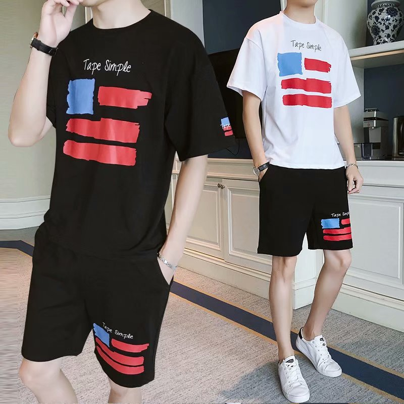 MEN'S Suit Casual Short Sleeve T-shirt Teenager Sports Clothing Summer New Style Slim Fit T-shirt Shorts Two Pieces-