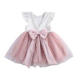 1-8Y Baby Mädchen Spitze Perle Kleider Taufe Kleider Neugeborenen Kleinkind Kinder Mädchen Prinzessin Geburtstag Taufe Tüll Kleid Kleidung
