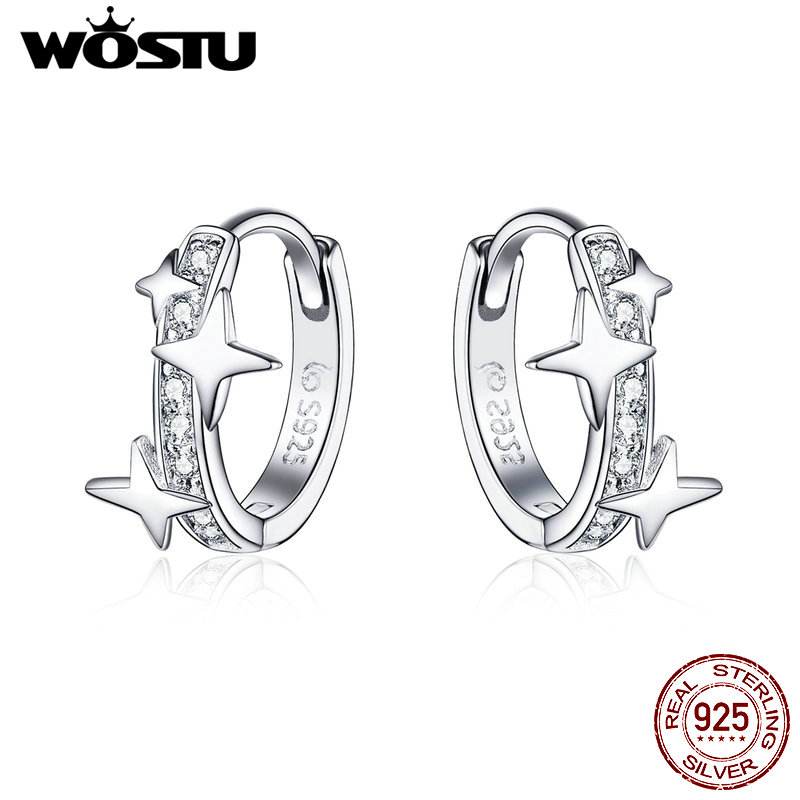 WOSTU Brilliant Star Hoop Earrings 925 Sterling Silver Dazzling Zircon Circle Small Earrings For Women Silver 925 Jewelry CTE076