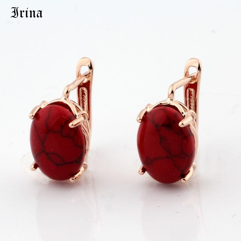 Irina Elegante Einfachheit Runde Tropfen Ohrringe mit Synthetische stein Mode 585 Rose Gold Schmuck Ohrring für frauen|Ohrhänger|   - AliExpress