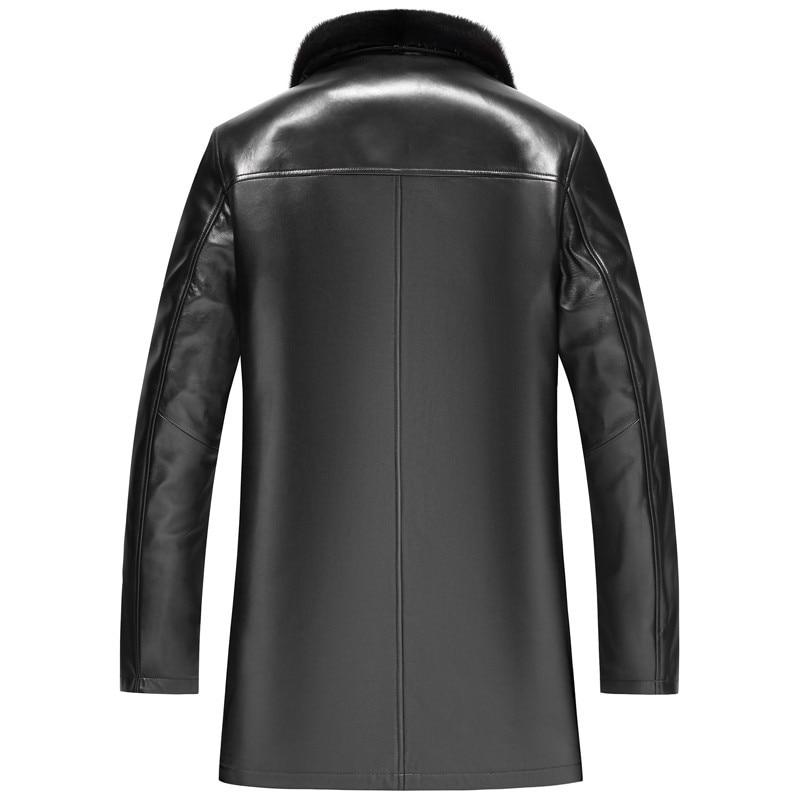 Men's Leather Winter Jacket Real Sheepskin Coat For Men Natural Gold Mink Fur Warm Jackets Plus Size LSY022329 MY1642