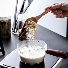 البورسليكات الزجاج الطبخ الحساء قدر للحليب (لبّانة) مقلاة صغيرة مقلاة مع مقبض خشبي طباخ موقد غاز المنزل تجهيزات المطابخ المطبخ أداة