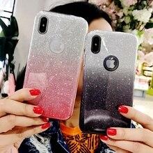 Блестящий чехол для iphone X XS 11 Pro MAX XR 10 7 8 Plus 6s 6 7Plus градиентные цвета Мягкий ТПУ силиконовый прозрачный чехол