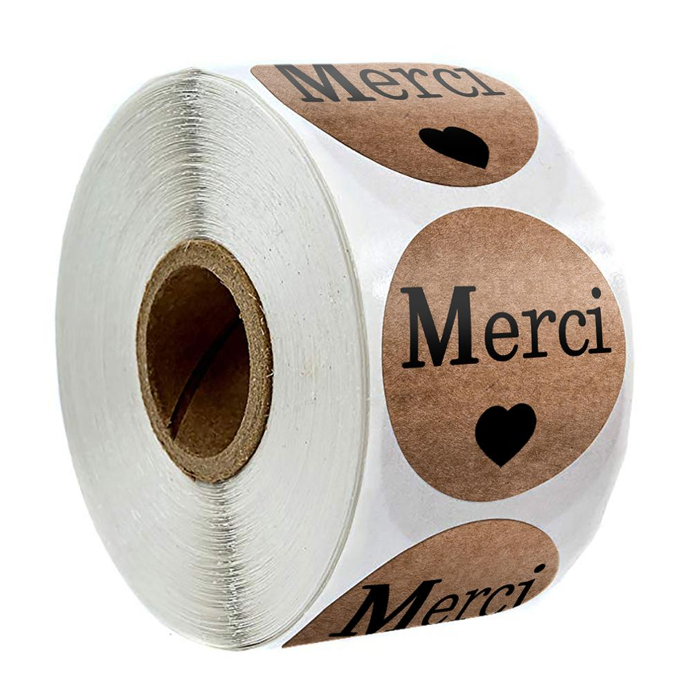 500 Pcs/roll Round Natural kraft paper French 'Thank You' Stickers for Gift Packaging Label Decorati