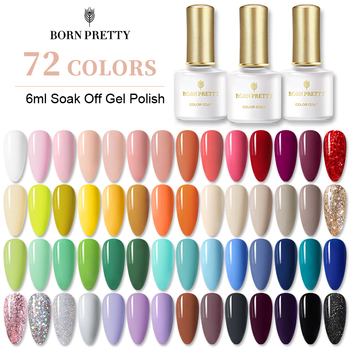 BORN PRETTY 72 Colors Gel Nail Polish  Nail Color Glitter Soak Off UV Gel Polish Nail Art Design Varnish Semi Permanent недорого