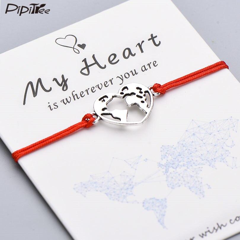 Браслет Pipitree Lucky My Heart с картой мира, регулируемый браслет ручной работы с Красной веревкой, очаровательные браслеты, ювелирные изделия, пода...