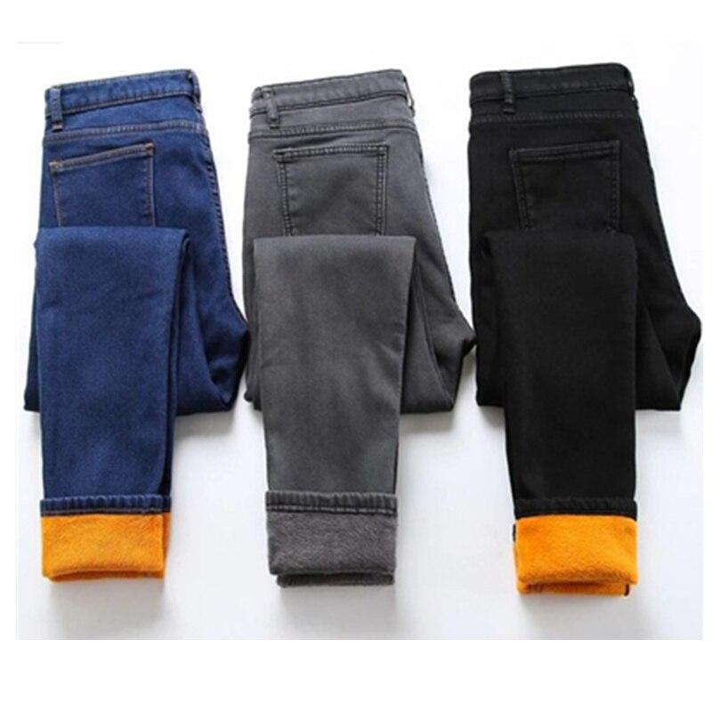 2019 Winter Jeans Woman Velvet Warm Pencil Pants Ladies Plus Size Thicken Denim Long Trousers Women Jeans Plus Size