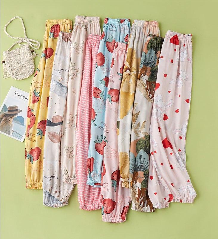 2020 Summer Newest Cotton Fresh Cute Skinny Pants Long Multi-Color Home Pants Plus Size Women's Home Pants