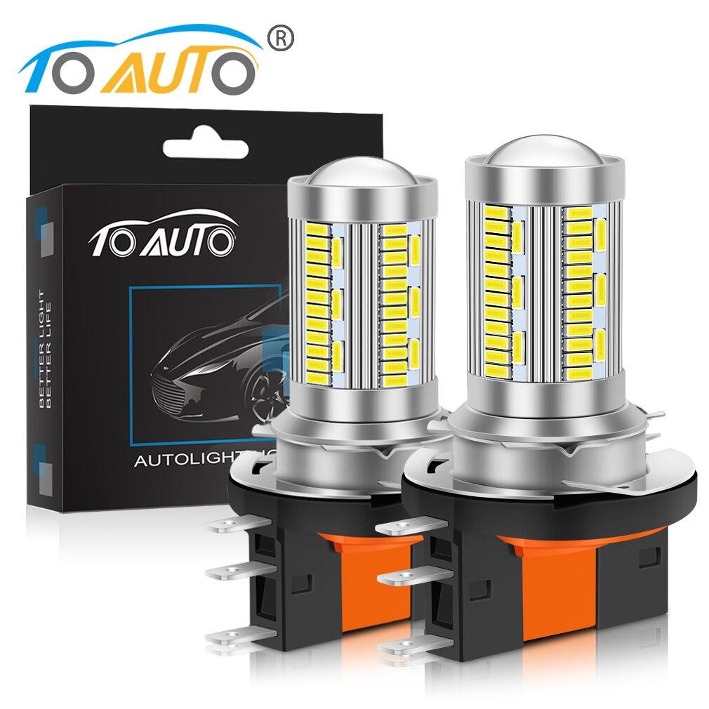 2 шт. H15 автомобильная светодиодная лампа для фары 8000LM светодиодные лампы AC/DC 12V Автомобильные фары дальнего день, вождения, бега, легкие 3014 чи...