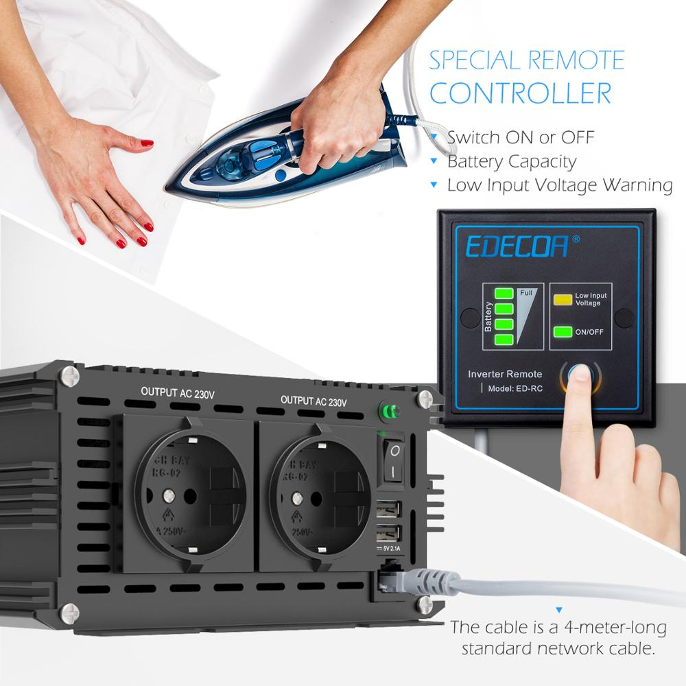 Closeout DealsEDECOA Solar-Power-Inverter Remote-Controller Sine-Wave 5000W 220V Pure 230V DC AC Peak