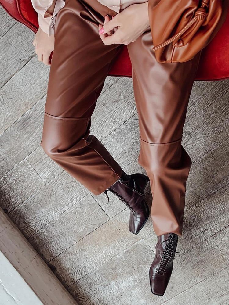 Pants Trouser Women Patchwork Elastic Loose Fleece High-Waist WOTWOY Straight Pockets