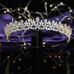 Image 4 - ティアラと王冠 hadiyana エレガンテ結婚式髪 accessoriess ファッションのヘアクリップ立方ジルコン BC5511 コロナプリンセサ