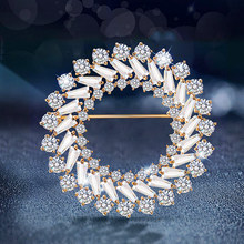 Ant Angel Fashion Large Zirconia Crystal Round Circle Brooch for Women Wedding Bridal Jewelry Collar Flower Pins and Brooches