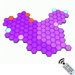 DIY дистанционный цветной квантовый светильник, ночная лампа, модульный шестиугольный светодиодный светильник, магнитный настенный Настоль...