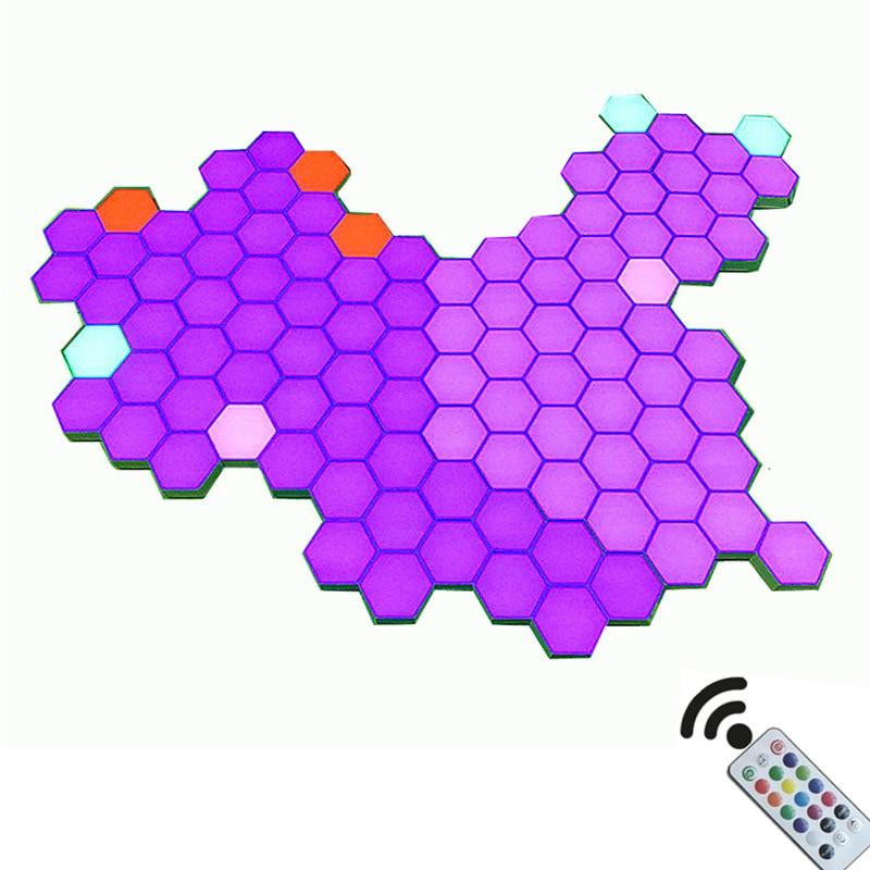 DIY Remote Colorful Quantum Light Running Lamp Night Lamp Modular Hexagonal LED Magnetic Lights Wall Desk Table Night Light
