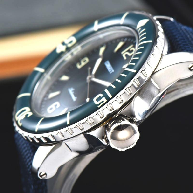 Saatler'ten Mekanik Saatler'de CORGEUT Lüks Top Marka Spor İzle Erkekler Mekanik Işıltılı Otomatik Kendini Rüzgar Vintage Bilek Saati 45MM mavi siyah'da  Grup 3