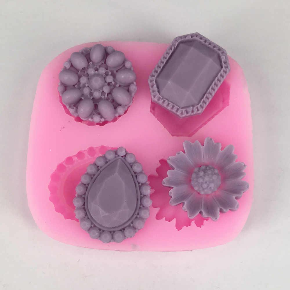 BK1025 nueva llegada flores de diamantes en forma de Fondant pastel de silicona molde para chocolate, caramelo moldes de torta para Decoración