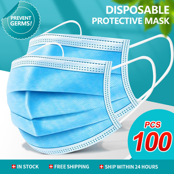 10/100/200pcs Disposable Anti Dust Masks 3 ply  Mouth Face Mask Adult Safety Protection Elastic Earloop Mask for Health Care