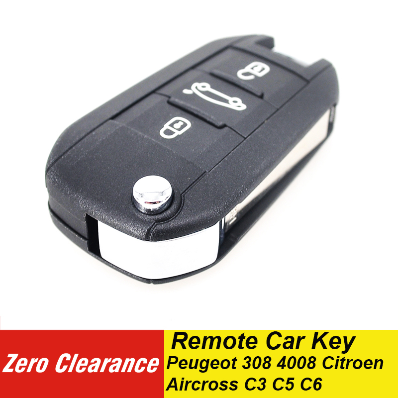 Zeroclearance 3 Buttons 4A Chip Remote Flip <font><b>Key</b></font> Folding Car <font><b>Key</b></font> 433MHz HUF8435 For <font><b>Peugeot</b></font> 308 <font><b>4008</b></font> Citroen Aircross C3 C5 C6 image