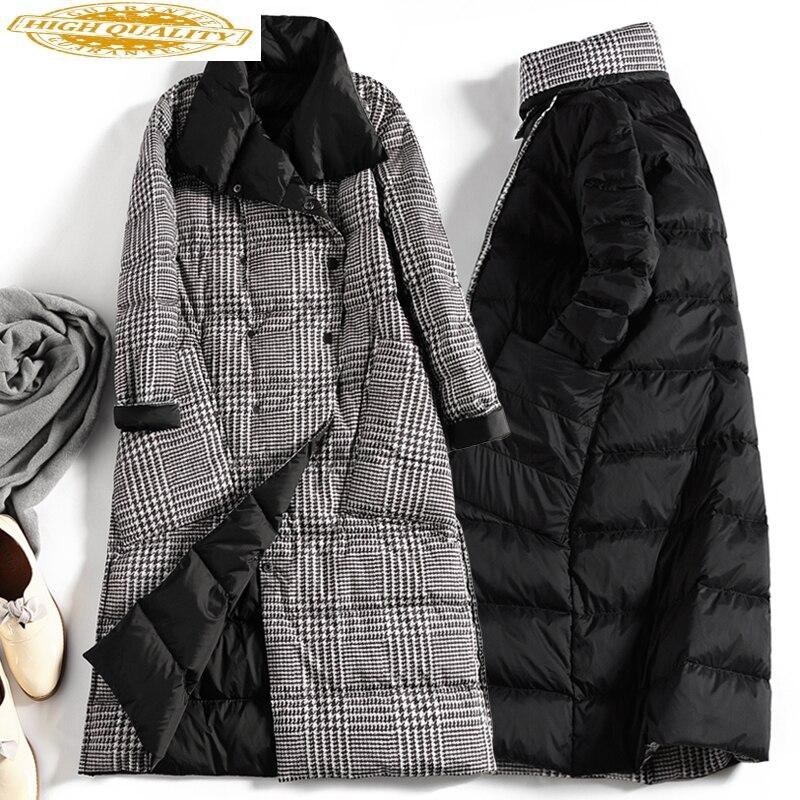 Women's Winter Down Jacket Plaid Long White Duck Down Coat Female Puffer Jacket Light Vintage Two Side Wear KJ3832