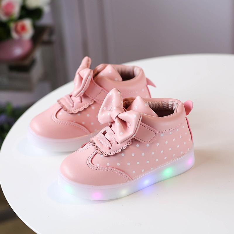 Fashion Dot Bow Lighted Toddler Slip On