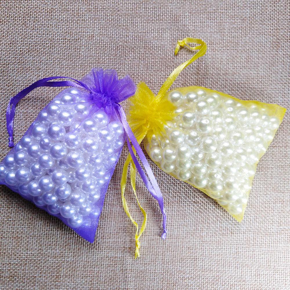 100 sztuk / partia 5x7 7x9 9x12 10x15 cm Sznurek Torby Organza Torby do pakowania biżuterii Torby na wesele Torba na prezenty świąteczne Prezenty na urodziny Torby Torebki