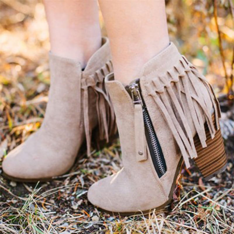 Womens Fashion Round Toe Metal Decor Tassel Pumps High Heels Ankle Boots Size