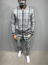 Plaid Printed Loose Suit Couple Clothes Fashion Tracksuit Grey Tracksuit Fullset Black Pink Faded Tracksuit Full Set Tracksuit