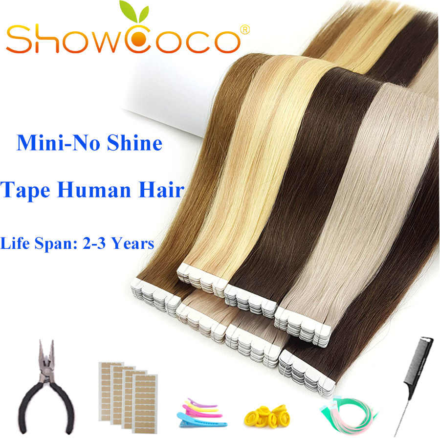 ShowCoco Mini Tape in Human Hair Extensions Virgin Remy Natural 2-3Years Double Sided Real Hair Skin Weft Balayage Tape on Hair
