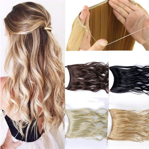 Allaosify 24 Inch Invisible Wire No Clip One Piece Halo Hair Extensions Secret Fish Line Hairpieces Wave Straight Synthetic Fake(China)