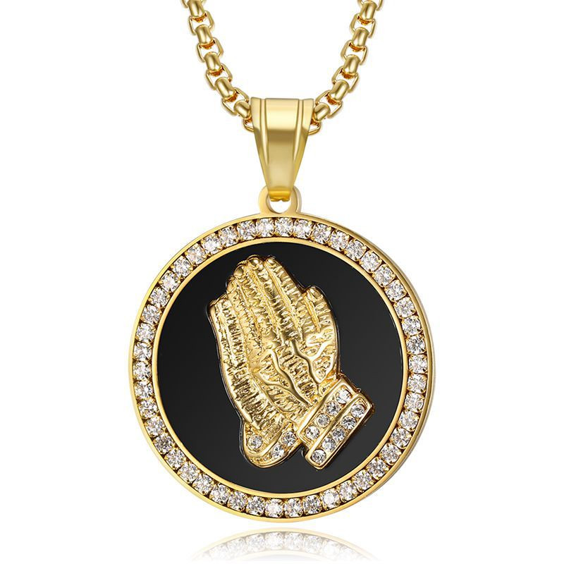 Hip Hop Iced Out Praying Hand Pendant With Mens Chain Gold Color Stainless Steel CZ Charm Round Necklace Jewelry Male Gift