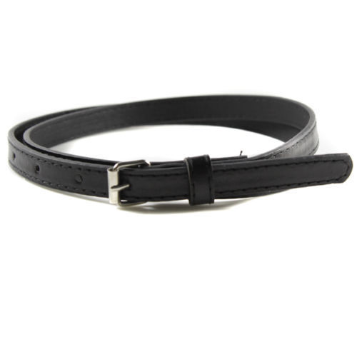 Colorful Womens Ladies Classic Faux Leather Thin Skinny Waistband Strap Belt Black.w