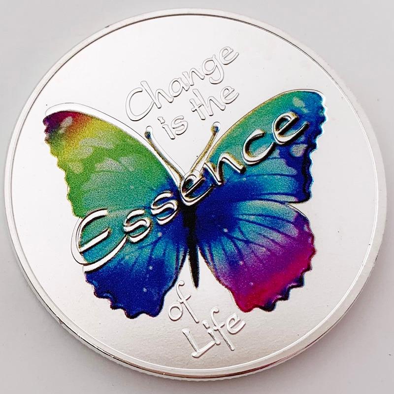 Посеребренная монета с бабочкой, животное, красочный сувенир, монеты, изменение, эссенция жизни, коллекция подарков