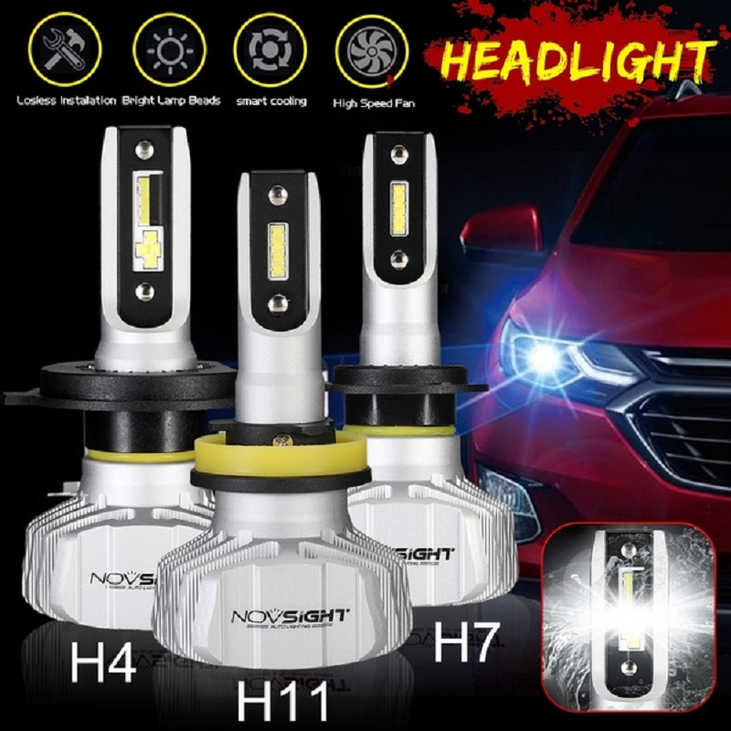 NOVSIGHT H4 H7 H11 H8 H9 H1 H3 9005 9006 HB3 HB4 H13 9007 50W LED Headlight Bulbs,10000LM Head Lamps-Car Replacement Lights