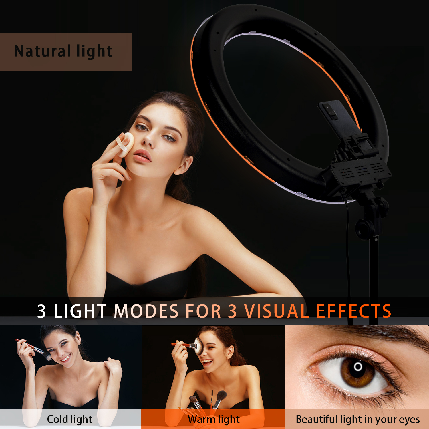 FOSOTO RL-18 Photography Lighting Dimmable Ring Lamp Camera Ring Lamp Led Ringlight With Tripod Stand For Phone Youtube Makeup