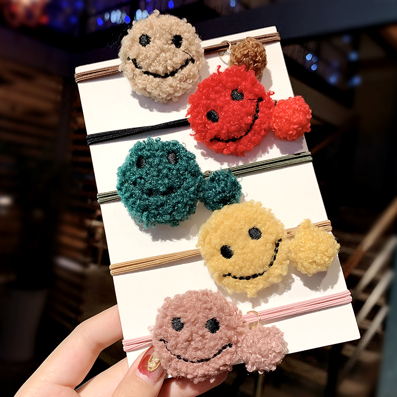 New Women Girls Cute Smile Face Cashmere Elastic Hair Bands Ponytail Holder Scrunchie Sweet Rubber Band Fashion Hair Accessories