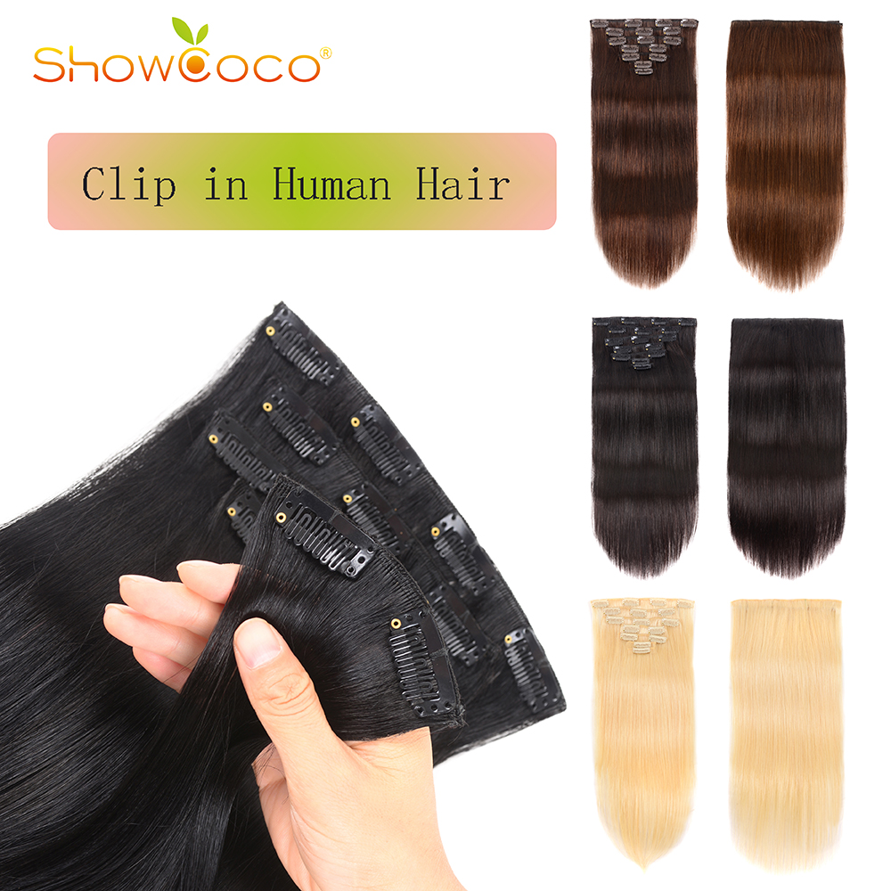 Clip In Hair Extensions 7 Pieces Set Machine-made Remy Human Hair Clips Silky Straight 70g 16 Clips Showcoco Hair Extension