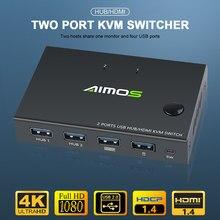 Para fora 4k usb caixa de interruptor kvm exibição de vídeo usb hdmi-divisor de interruptor compatível para 2 pc compartilhando teclado mouse impressora plug paly