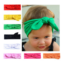 14 color baby candy knotted headdress newborn toddler child kid girl solid big rabbit ears simple bow hairband