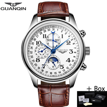 GUANQIN Men's Mechanical Watch Automatic Male Luxury Brand Waterproof Calendar Business Leather Wristwatch Watches Relogio Часы